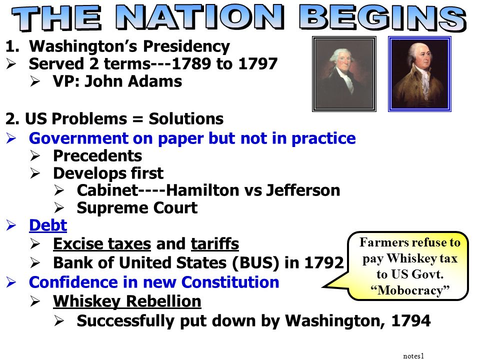 notes1 1.Washington's Presidency  Served 2 terms---1789 to 1797  VP: John Adams 2.