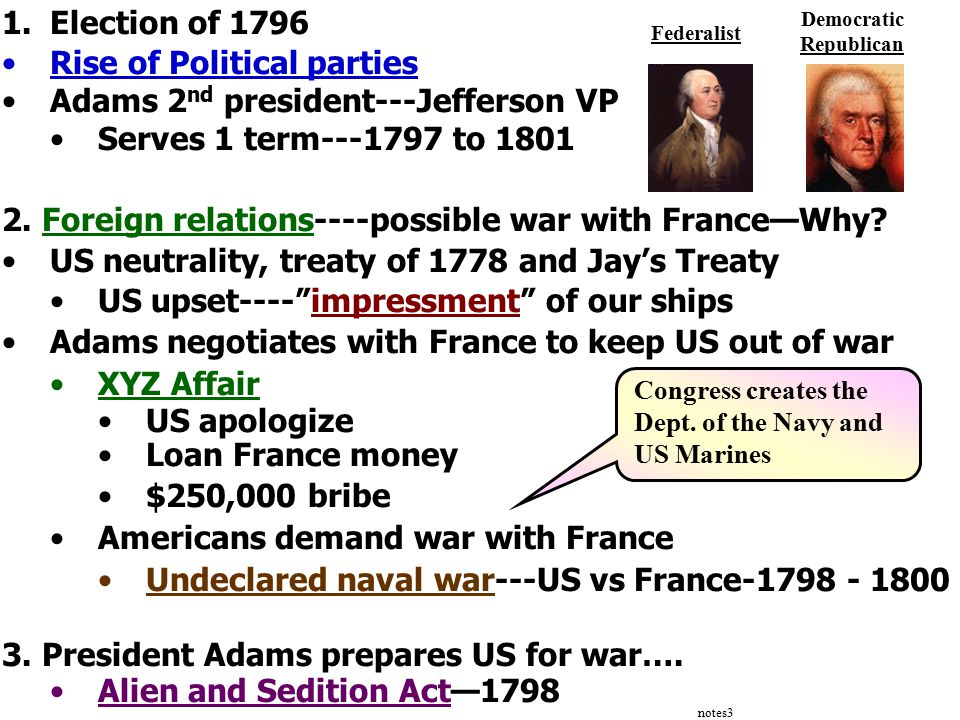 notes3 1.Election of 1796 Rise of Political parties Adams 2 nd president---Jefferson VP Serves 1 term---1797 to 1801 2.