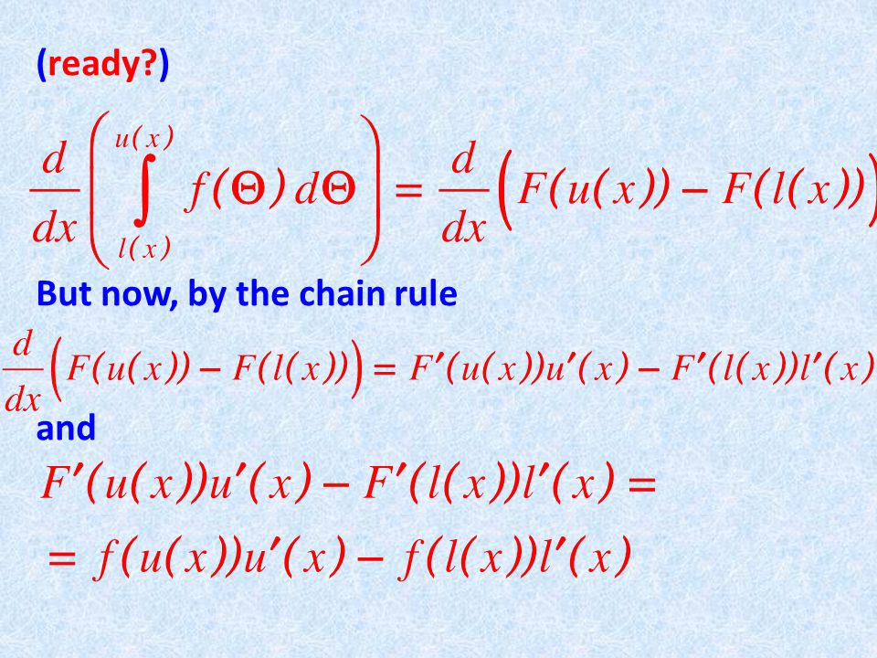 The moral of this story is: 1 When taking the derivative of an integral 2 Use the FTC (evaluate the integrand properly) 3 But don't forget the chain rule .