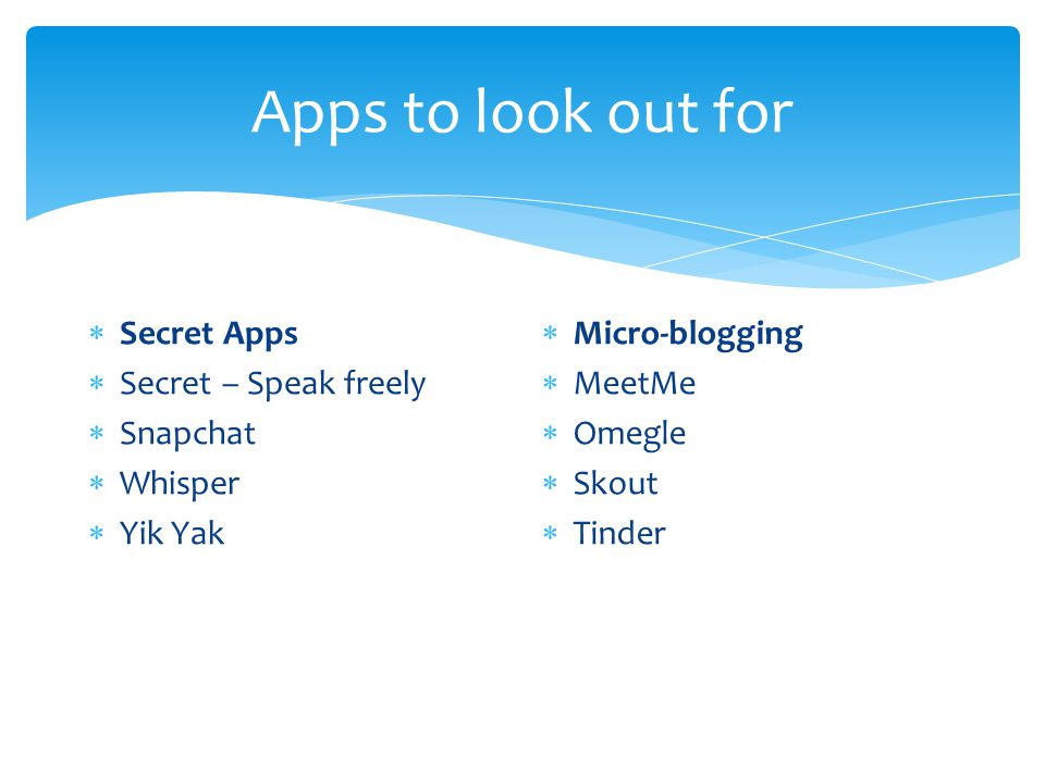 Apps to look out for  Secret Apps  Secret – Speak freely  Snapchat  Whisper  Yik Yak  Micro-blogging  MeetMe  Omegle  Skout  Tinder