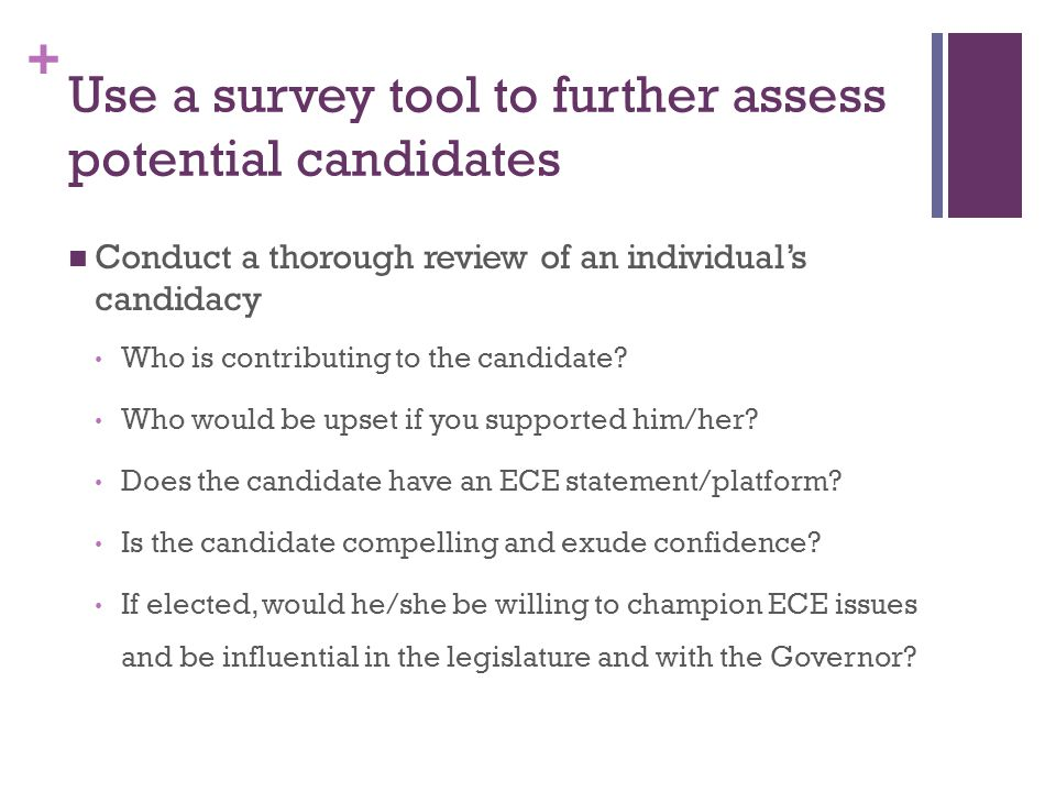 + Use a survey tool to further assess potential candidates Conduct a thorough review of an individual's candidacy Who is contributing to the candidate.