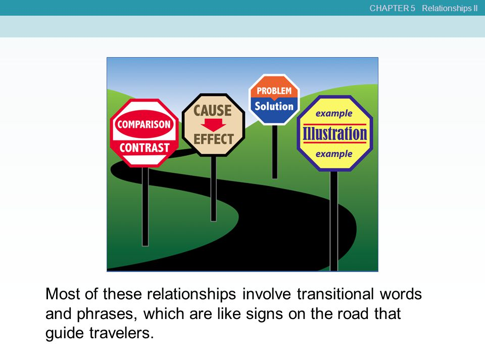 CHAPTER 5 Relationships II Most of these relationships involve transitional words and phrases, which are like signs on the road that guide travelers.
