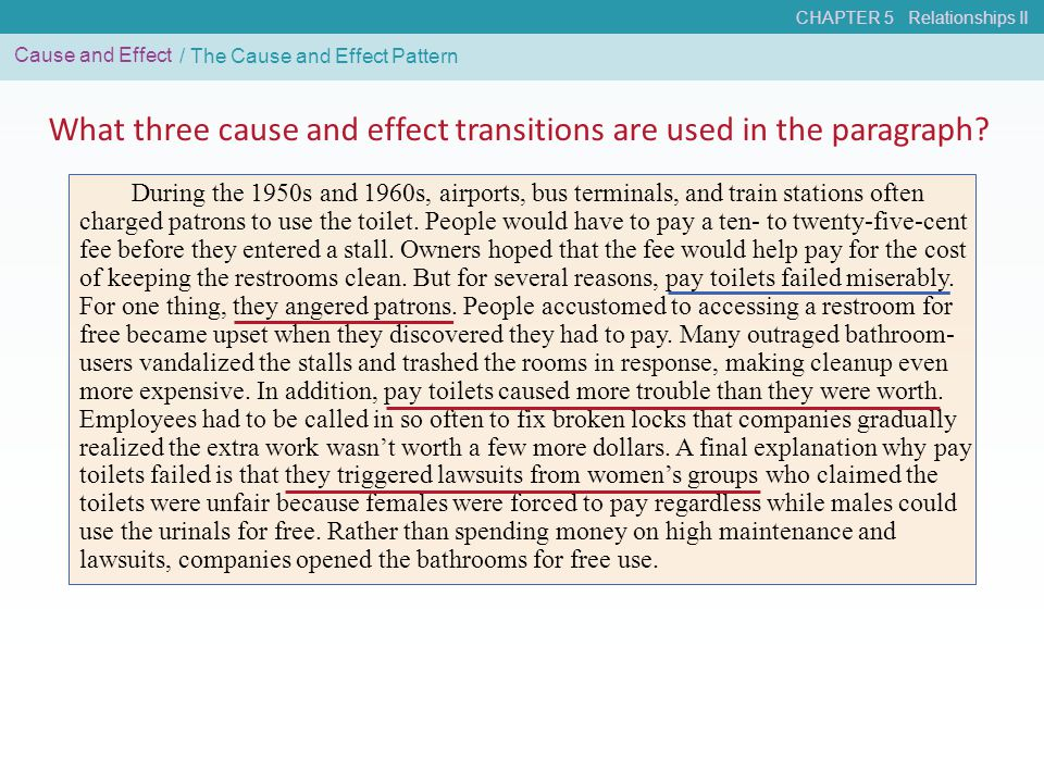 CHAPTER 5 Relationships II Cause and Effect What three cause and effect transitions are used in the paragraph? / The Cause and Effect Pattern During t