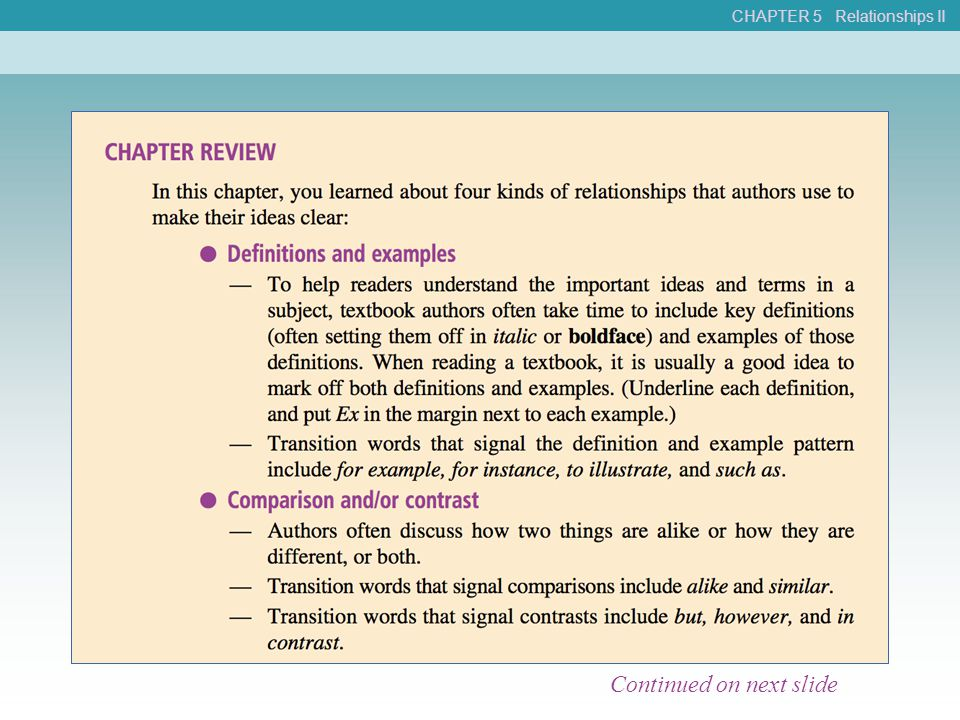 CHAPTER 5 Relationships II Continued on next slide