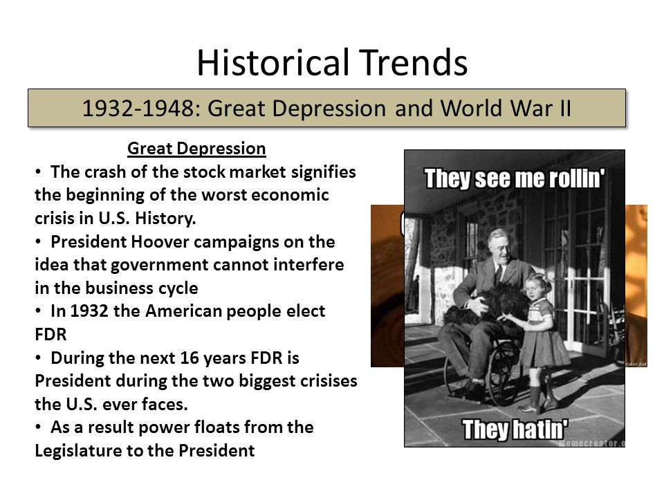 Historical Trends 1932-1948: Great Depression and World War II Great Depression The crash of the stock market signifies the beginning of the worst eco
