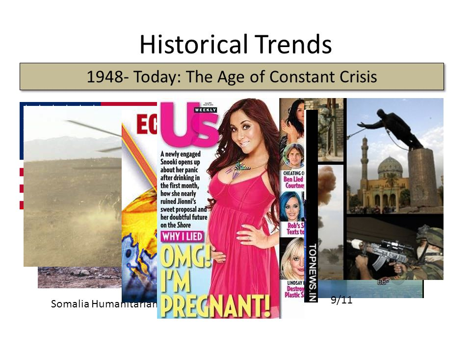 Historical Trends The Cold War 1948- Today: The Age of Constant Crisis First Iraq War Somalia Humanitarian Crisis Kosovo 9/11
