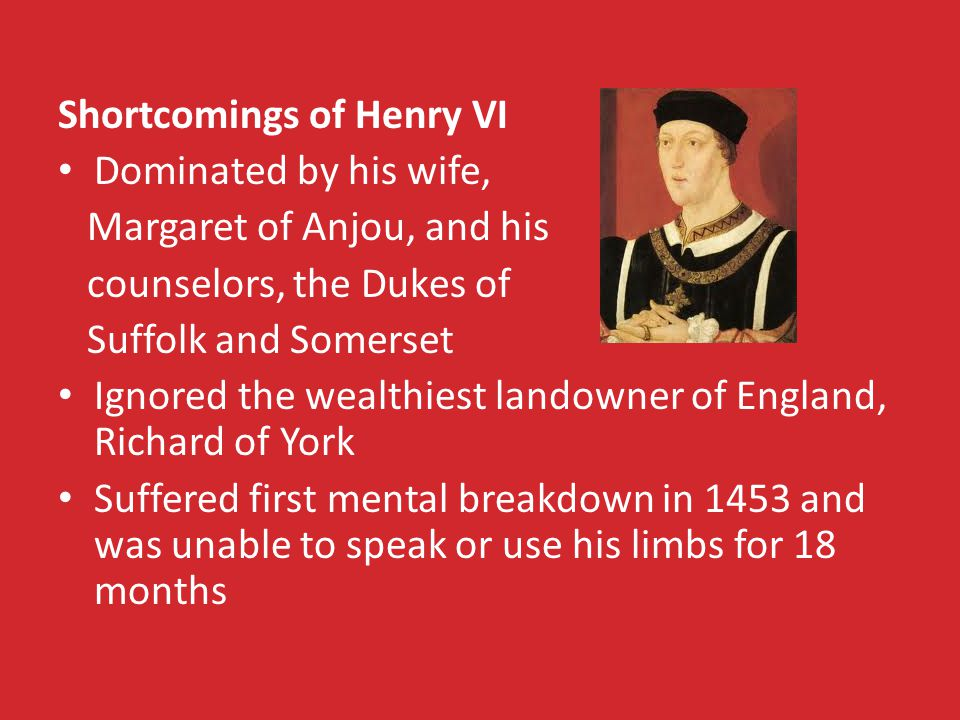 Shortcomings of Henry VI Dominated by his wife, Margaret of Anjou, and his counselors, the Dukes of Suffolk and Somerset Ignored the wealthiest landowner of England, Richard of York Suffered first mental breakdown in 1453 and was unable to speak or use his limbs for 18 months