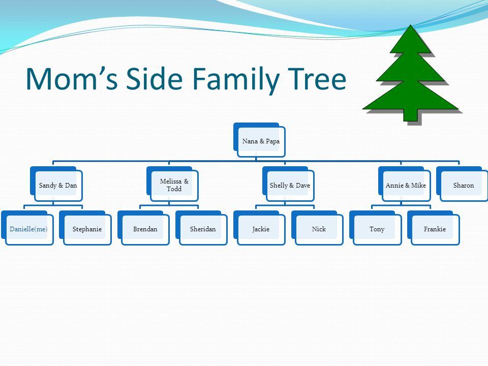 Mom's Side Family Tree Nana & PapaSandy & DanDanielle(me)Stephanie Melissa & Todd BrendanSheridanShelly & DaveJackieNickAnnie & MikeTonyFrankieSharon