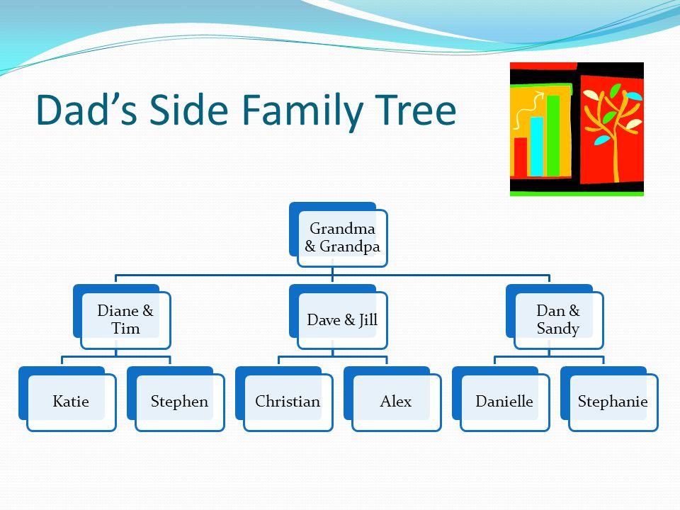 Dad's Side Family Tree Grandma & Grandpa Diane & Tim KatieStephenDave & JillChristianAlex Dan & Sandy DanielleStephanie