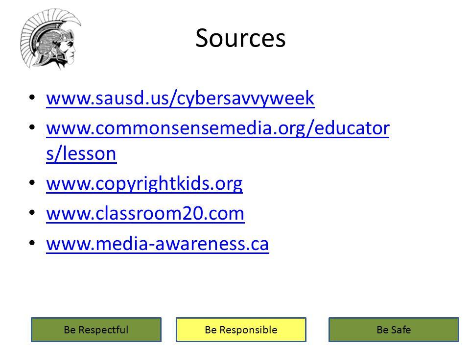 Sources www.sausd.us/cybersavvyweek www.commonsensemedia.org/educator s/lesson www.commonsensemedia.org/educator s/lesson www.copyrightkids.org www.classroom20.com www.media-awareness.ca Be RespectfulBe ResponsibleBe Safe