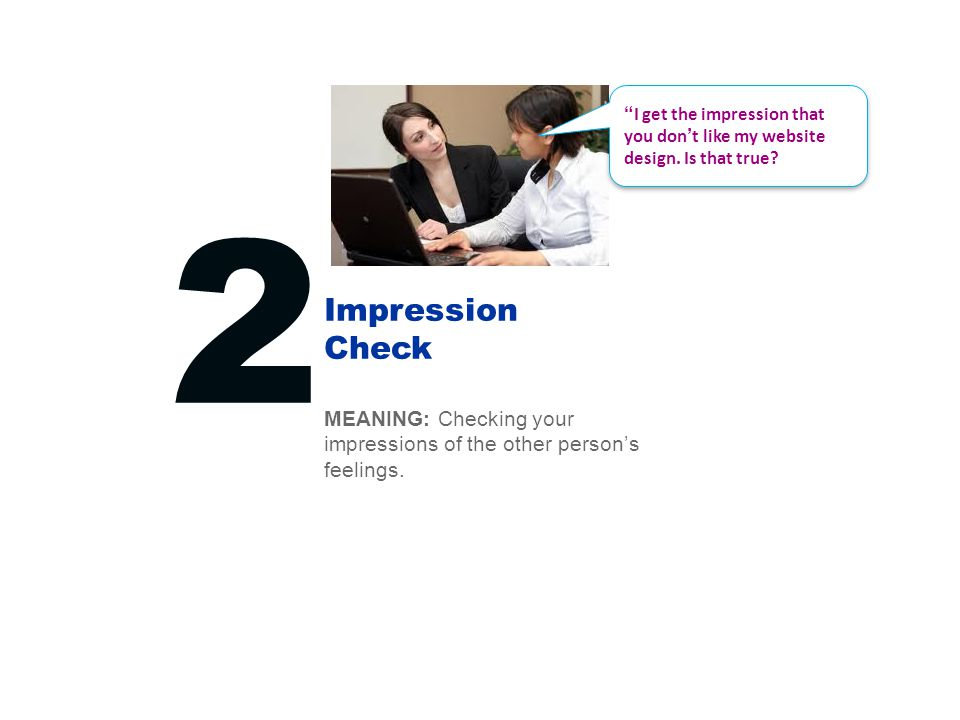 Impression Check 2 MEANING: Checking your impressions of the other person's feelings.