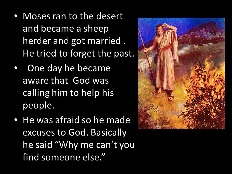 Moses ran to the desert and became a sheep herder and got married.