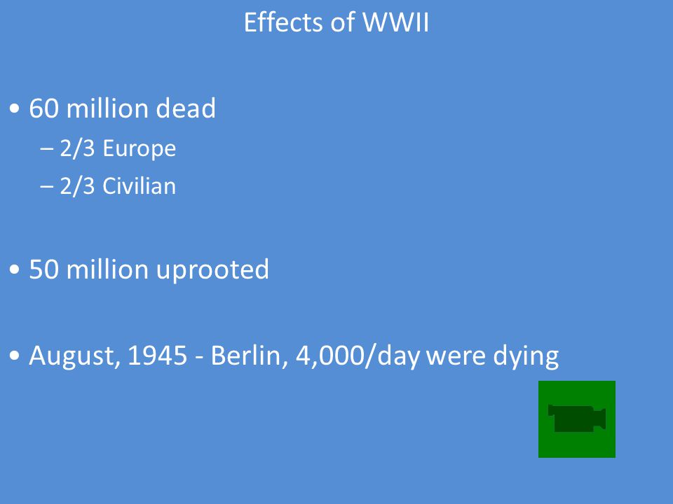 Effects of WWII 60 million dead – 2/3 Europe – 2/3 Civilian 50 million uprooted August, Berlin, 4,000/day were dying