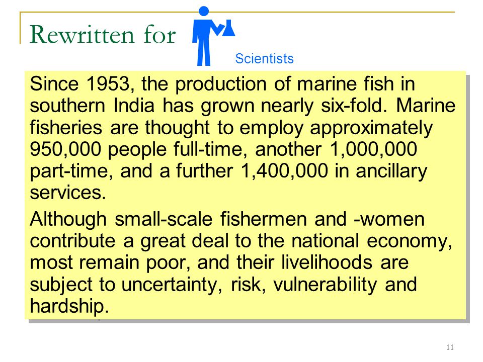 11 Rewritten for Since 1953, the production of marine fish in southern India has grown nearly six-fold. Marine fisheries are thought to employ approxi