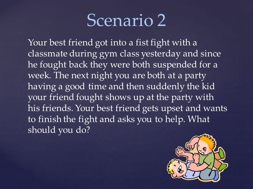 Scenario 2 Your best friend got into a fist fight with a classmate during gym class yesterday and since he fought back they were both suspended for a week.
