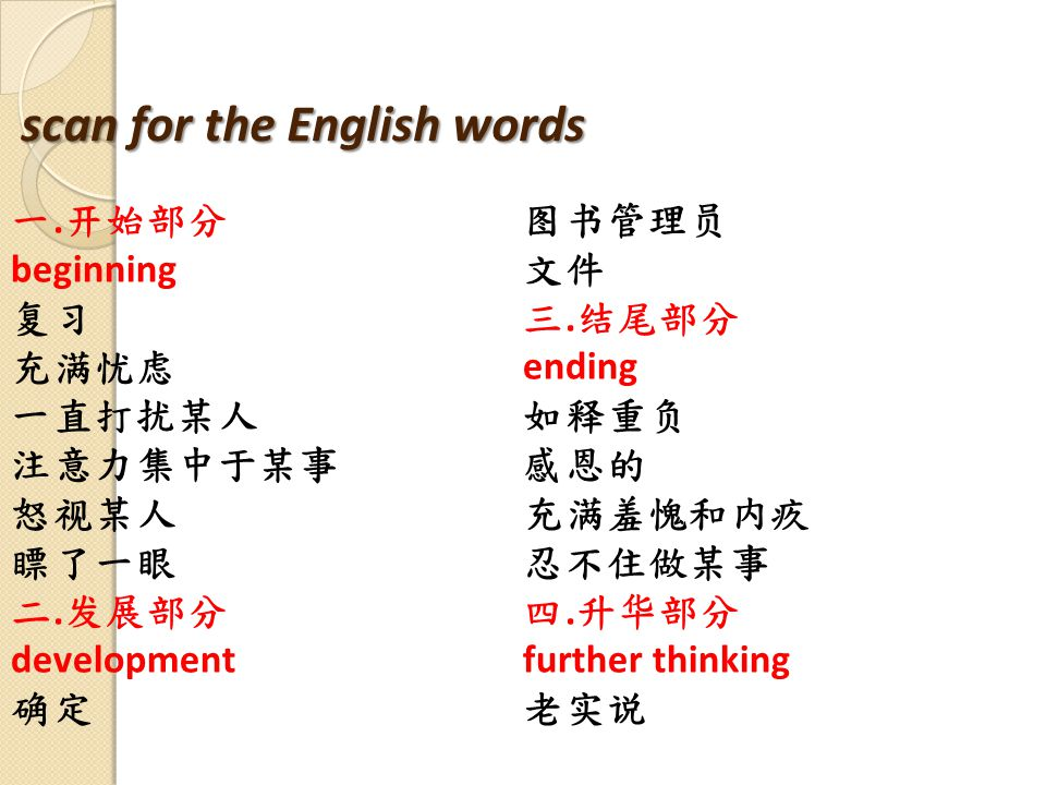 scan for the English words 一. 开始部分 beginning 复习 充满忧虑 一直打扰某人 注意力集中于某事 怒视某人 瞟了一眼 二.