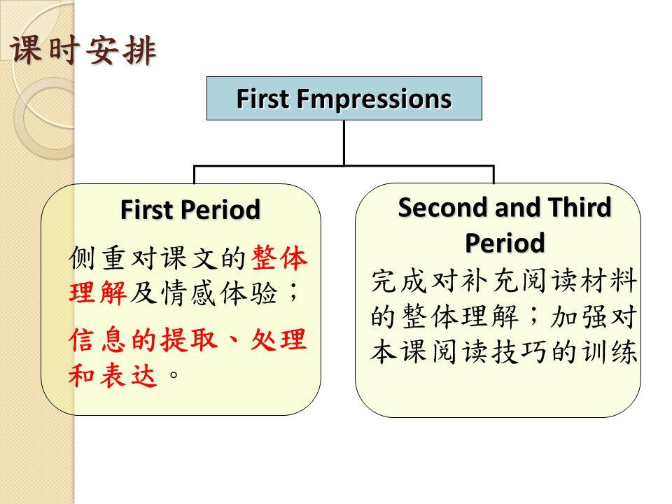 课时安排 First Fmpressions First Period 侧重对课文的整体 理解及情感体验; 信息的提取、处理 和表达。 Second and Third Period 完成对补充阅读材料 的整体理解;加强对 本课阅读技巧的训练