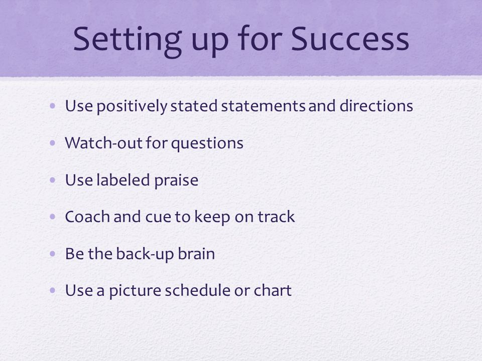 Setting up for Success Use positively stated statements and directions Watch-out for questions Use labeled praise Coach and cue to keep on track Be the back-up brain Use a picture schedule or chart