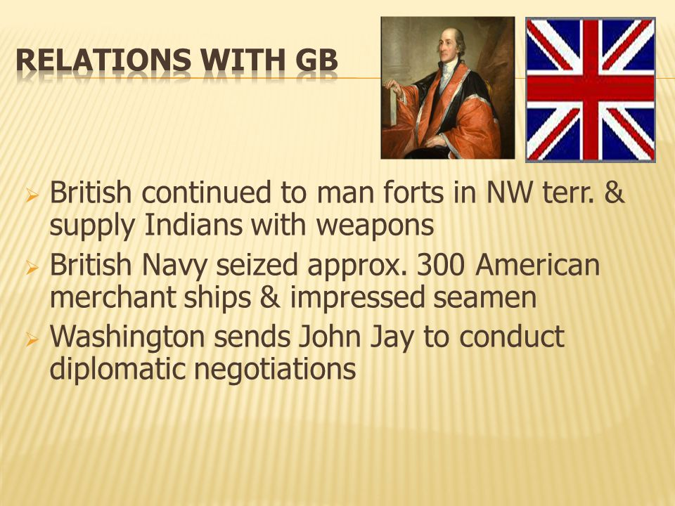 Jay's Treaty (1794) Terms:  British would compensate merchant losses  Americans would pay off pre-Revolution debts  Treaty unpopular—Jay was burned in effigy!