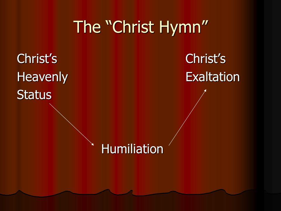 The Christ Hymn Christ'sChrist's HeavenlyExaltation StatusHumiliation
