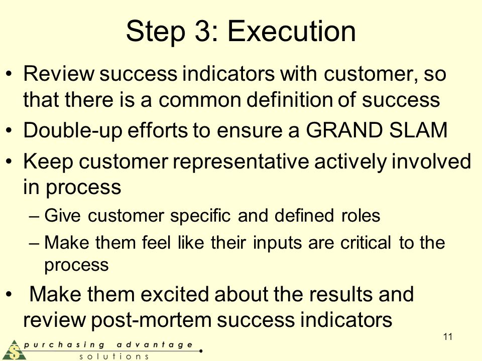 Step 3: Execution Review success indicators with customer, so that there is a common definition of success Double-up efforts to ensure a GRAND SLAM Keep customer representative actively involved in process –Give customer specific and defined roles –Make them feel like their inputs are critical to the process Make them excited about the results and review post-mortem success indicators 11
