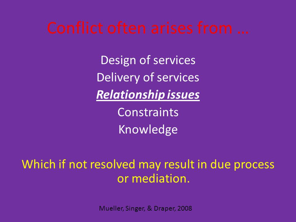 Conflict often arises from … Design of services Delivery of services Relationship issues Constraints Knowledge Which if not resolved may result in due process or mediation.