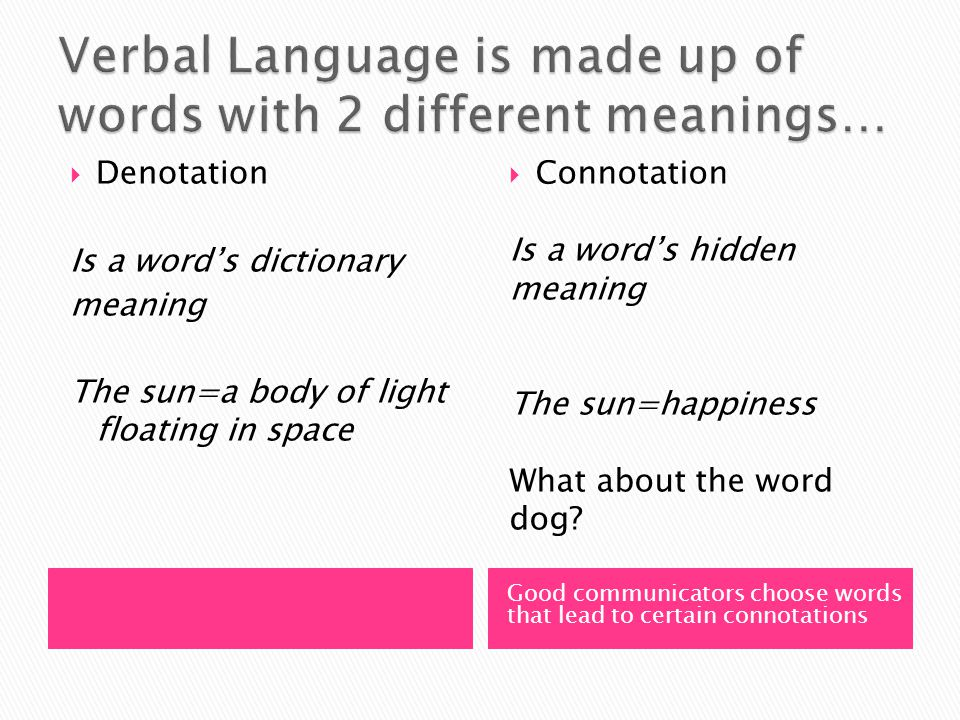 Good communicators choose words that lead to certain connotations  Denotation Is a word's dictionary meaning The sun=a body of light floating in space  Connotation Is a word's hidden meaning The sun=happiness What about the word dog?