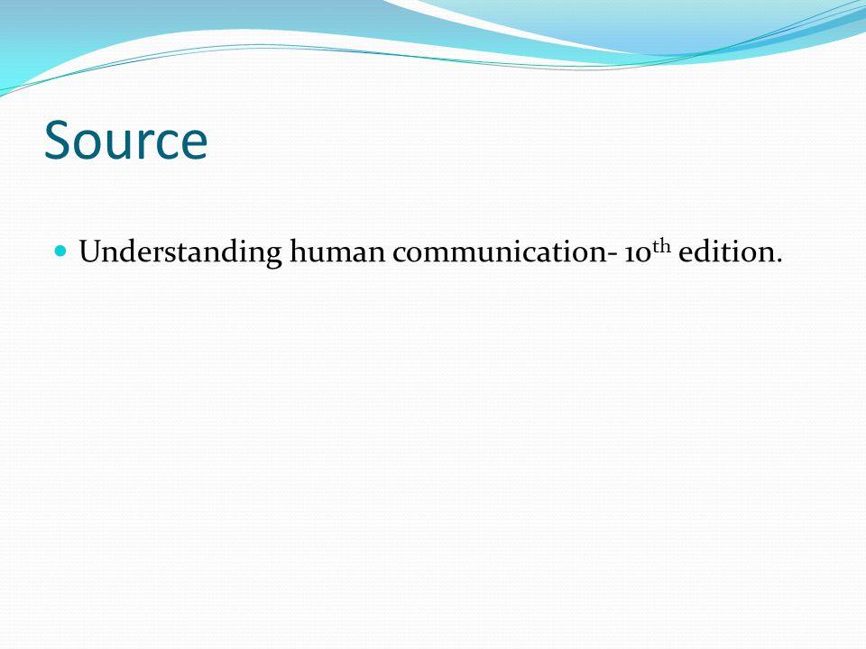 Source Understanding human communication- 10 th edition.