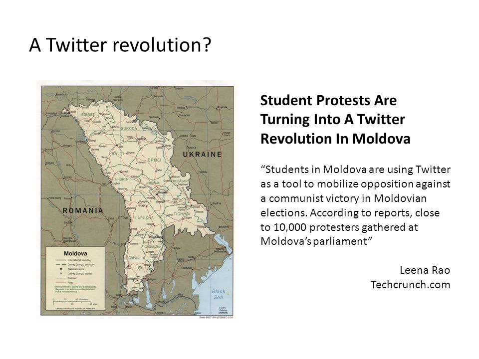"""A Twitter revolution? Student Protests Are Turning Into A Twitter Revolution In Moldova """"Students in Moldova are using Twitter as a tool to mobilize o"""