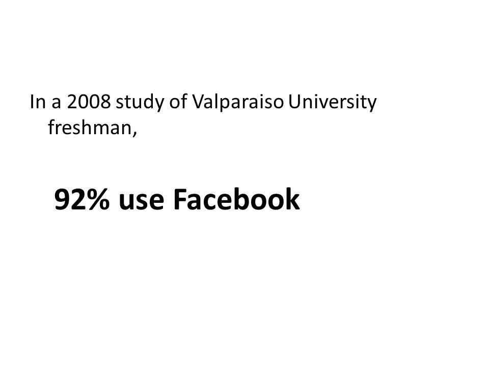 In a 2008 study of Valparaiso University freshman, 92% use Facebook