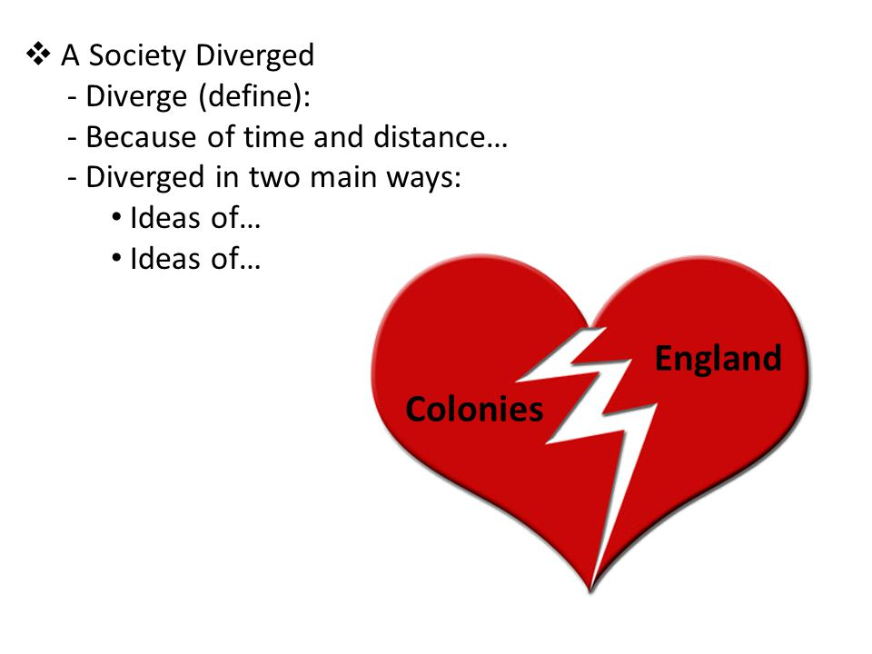 Colonies England  A Society Diverged - Diverge (define): - Because of time and distance… - Diverged in two main ways: Ideas of…