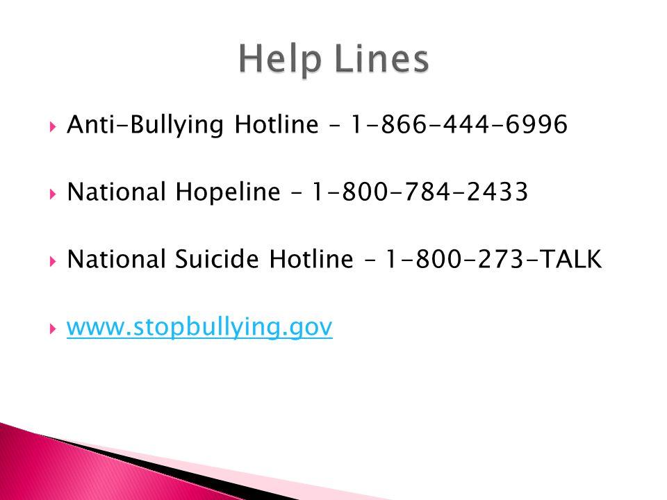  Anti-Bullying Hotline – 1-866-444-6996  National Hopeline – 1-800-784-2433  National Suicide Hotline – 1-800-273-TALK  www.stopbullying.gov www.stopbullying.gov