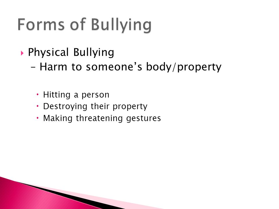  Physical Bullying – Harm to someone's body/property  Hitting a person  Destroying their property  Making threatening gestures