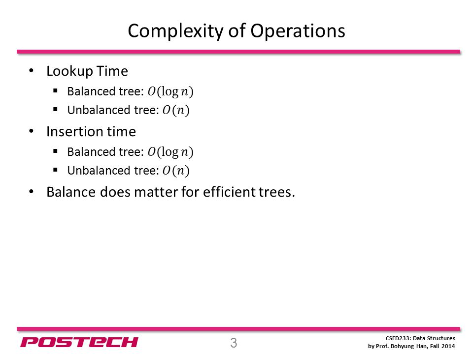 CSED233: Data Structures by Prof. Bohyung Han, Fall 2014 Complexity of Operations 3