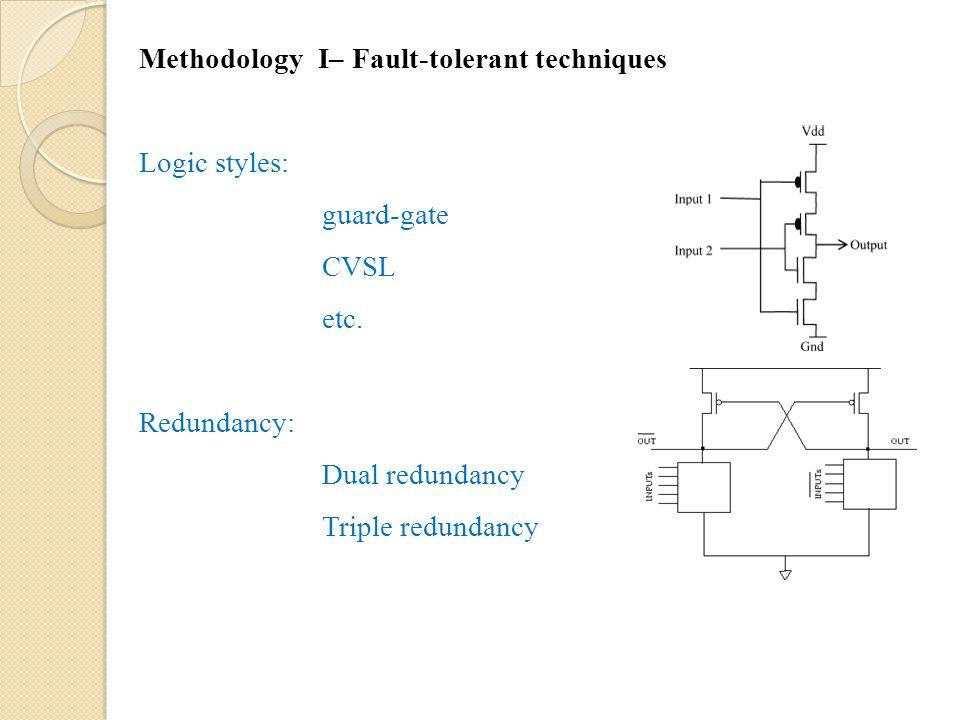 Methodology I– Fault-tolerant techniques Logic styles: guard-gate CVSL etc.