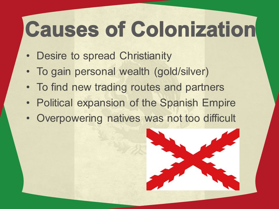 Desire to spread Christianity To gain personal wealth (gold/silver) To find new trading routes and partners Political expansion of the Spanish Empire