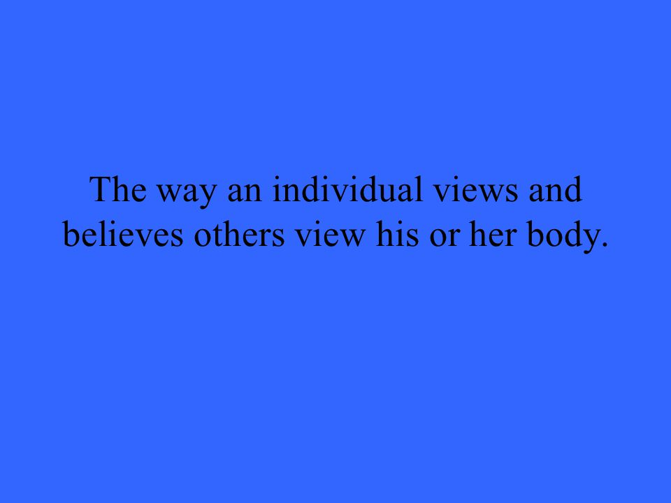 The way an individual views and believes others view his or her body.