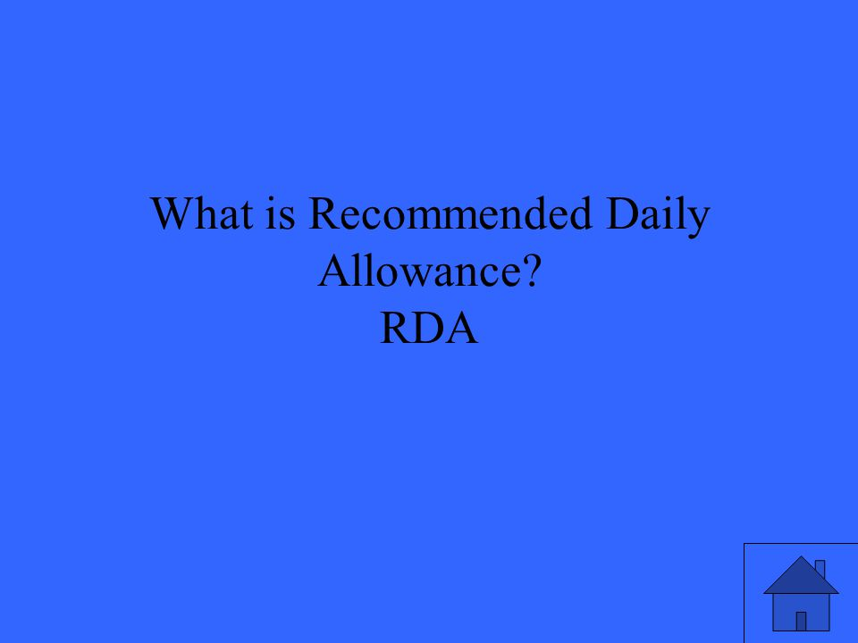 What is Recommended Daily Allowance? RDA