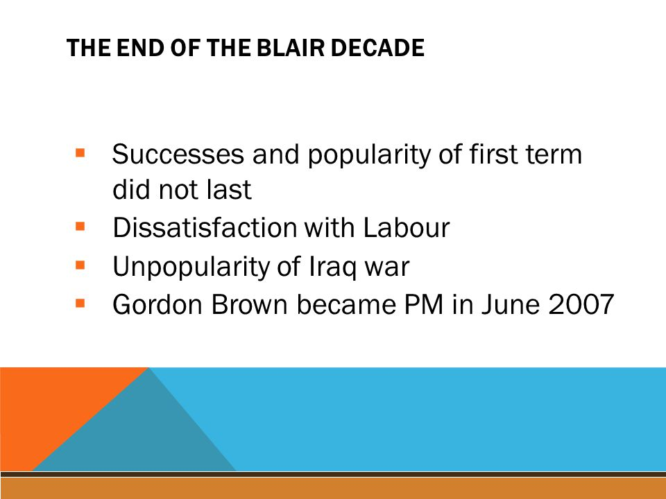 THE END OF THE BLAIR DECADE  Successes and popularity of first term did not last  Dissatisfaction with Labour  Unpopularity of Iraq war  Gordon Brown became PM in June 2007