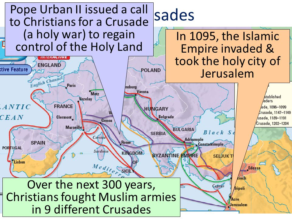 The Crusades In 1095, the Islamic Empire invaded & took the holy city of Jerusalem Pope Urban II issued a call to Christians for a Crusade (a holy war