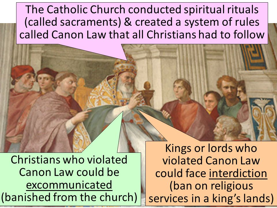 The Role of the Medieval Church The Catholic Church conducted spiritual rituals (called sacraments) & created a system of rules called Canon Law that