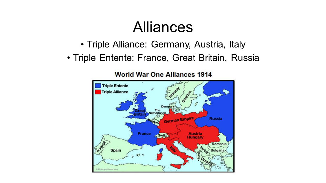Alliances Triple Alliance: Germany, Austria, Italy Triple Entente: France, Great Britain, Russia