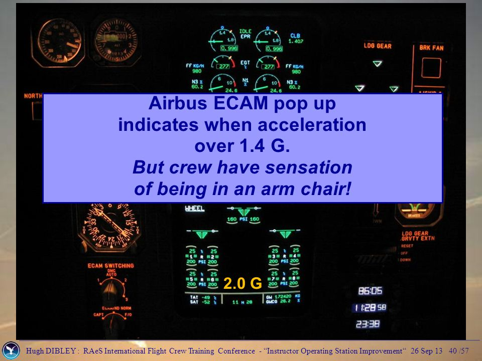 Hugh DIBLEY : RAeS International Flight Crew Training Conference - Instructor Operating Station Improvement 26 Sep 13 40 /57 2.0 G Airbus ECAM pop up indicates when acceleration over 1.4 G.