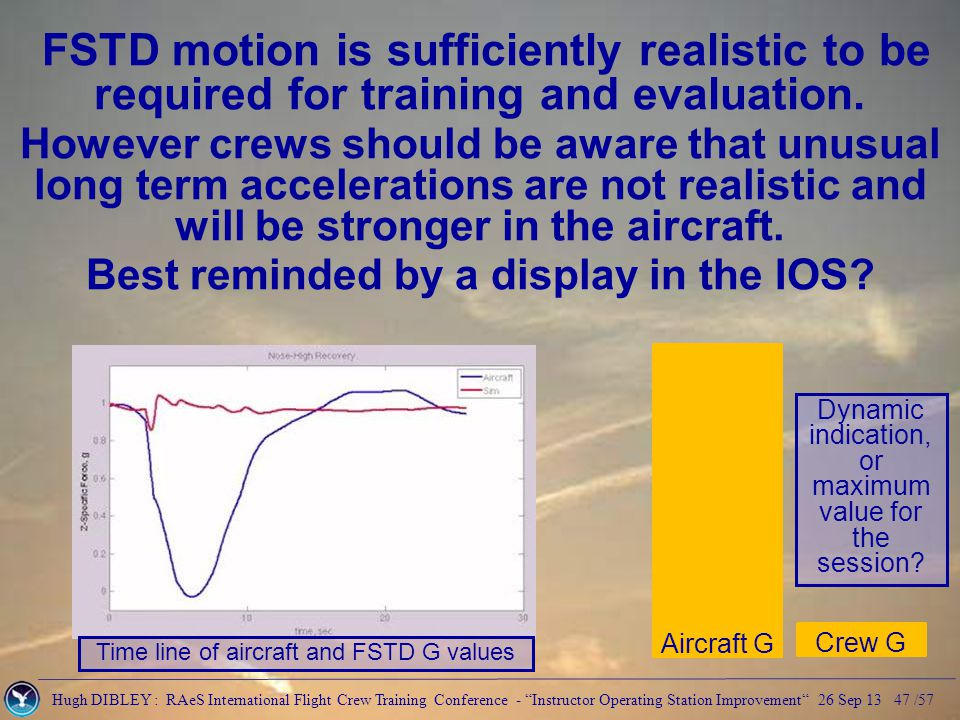 Hugh DIBLEY : RAeS International Flight Crew Training Conference - Instructor Operating Station Improvement 26 Sep 13 47 /57 FSTD motion is sufficiently realistic to be required for training and evaluation.