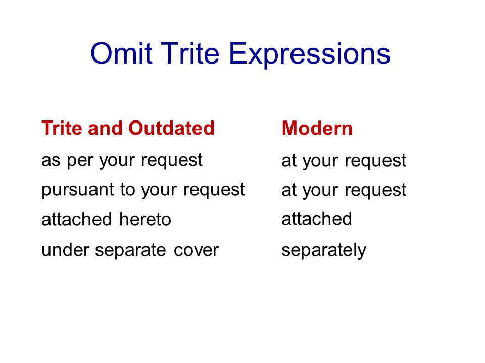 Omit Trite Expressions Trite and Outdated as per your request pursuant to your request attached hereto under separate cover Modern at your request attached separately