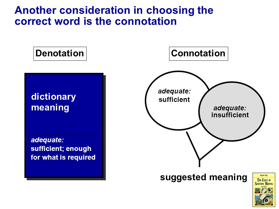 Another consideration in choosing the correct word is the connotation Denotation dictionary meaning adequate: sufficient; enough for what is required Connotation suggested meaning adequate: sufficient adequate: insufficient