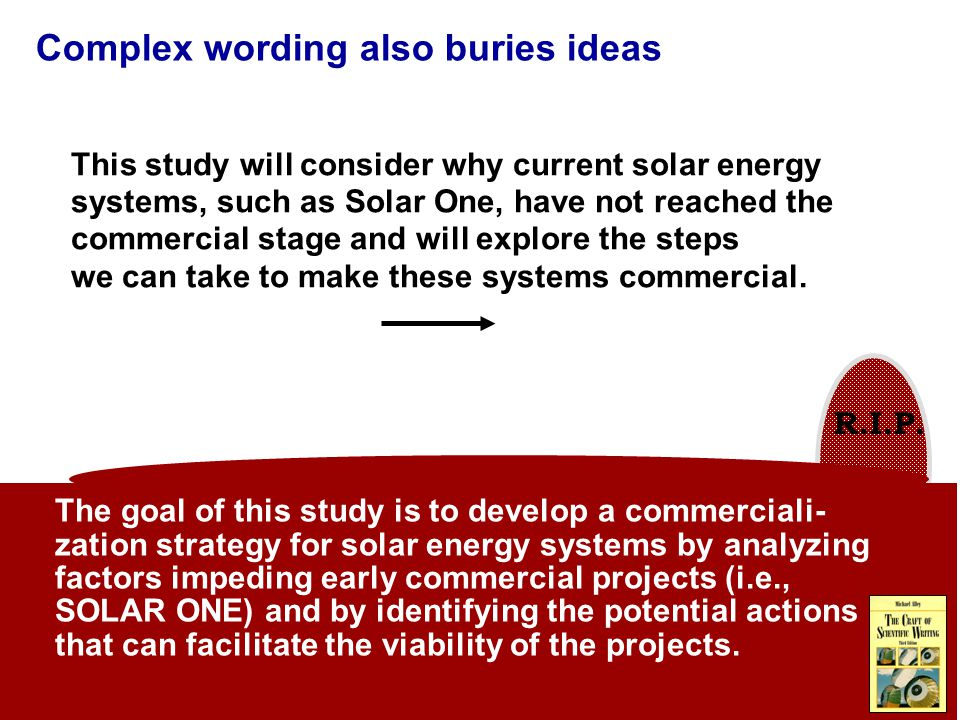 R.I.P. Complex wording also buries ideas This study will consider why current solar energy systems, such as Solar One, have not reached the commercial