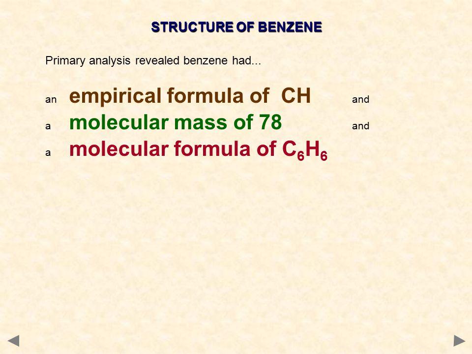 STRUCTURE OF BENZENE Primary analysis revealed benzene had...
