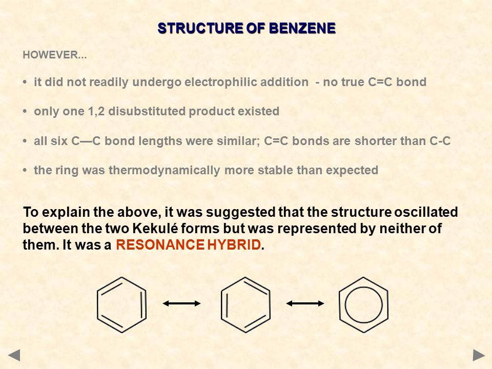 STRUCTURE OF BENZENE HOWEVER...