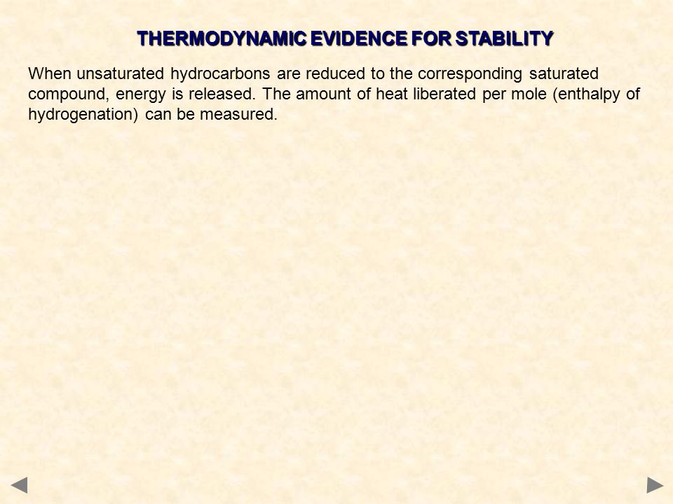 THERMODYNAMIC EVIDENCE FOR STABILITY When unsaturated hydrocarbons are reduced to the corresponding saturated compound, energy is released.